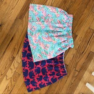 Lilly Pulitzer mini skirts in custom prints